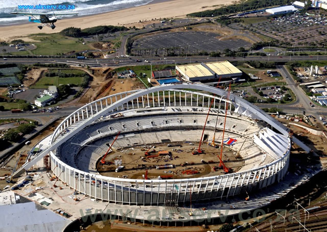 Durban's new soccer stadium while it was under construction